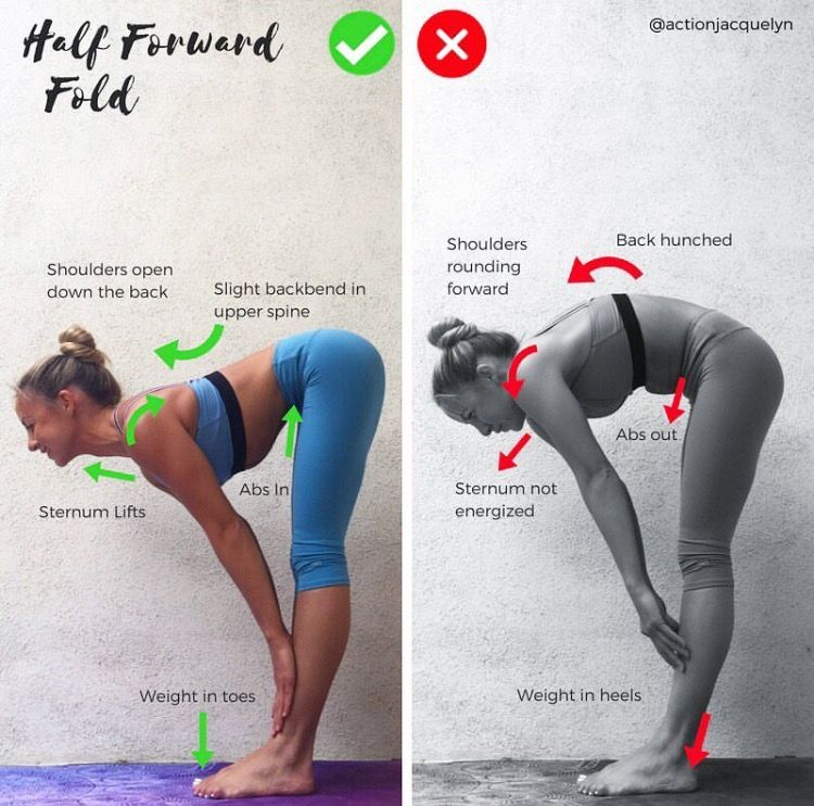 Correct and incorrect yoga pose for half forward fold yoga pose