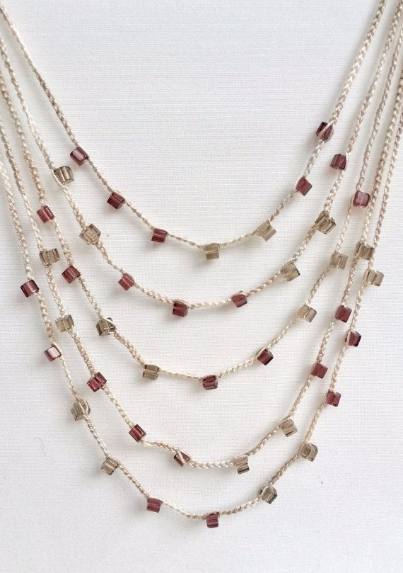 Light brown and mauve layers crochet necklace by GabyCrochetCrafts ...