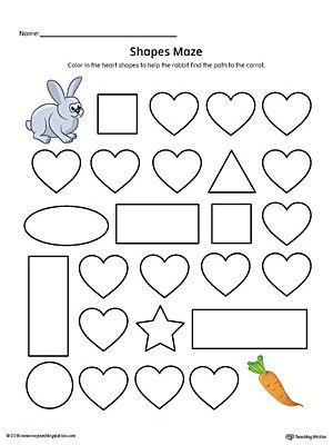 Heart Shape Maze Printable Worksheet Color