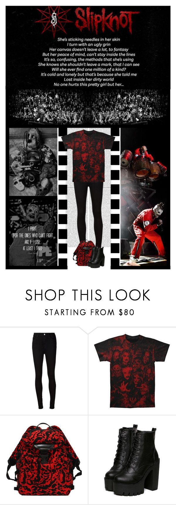 """""""SLIPKNOT CONTEST! (band)"""" by irresistible-livingdeadgirl ❤ liked on Polyvore featuring AG Adriano Goldschmied, Alexander McQueen, black, emo, goth, gothic, alexachung, music, Punk and PunkRock"""