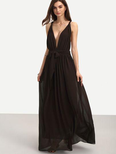 Brown Sleeveless V Neck Tie Waist Maxi Dress