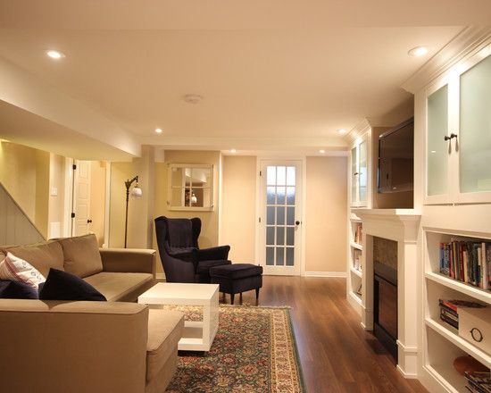 Traditional Basement With Simple Entertainment Room Ideas Also Peach ...