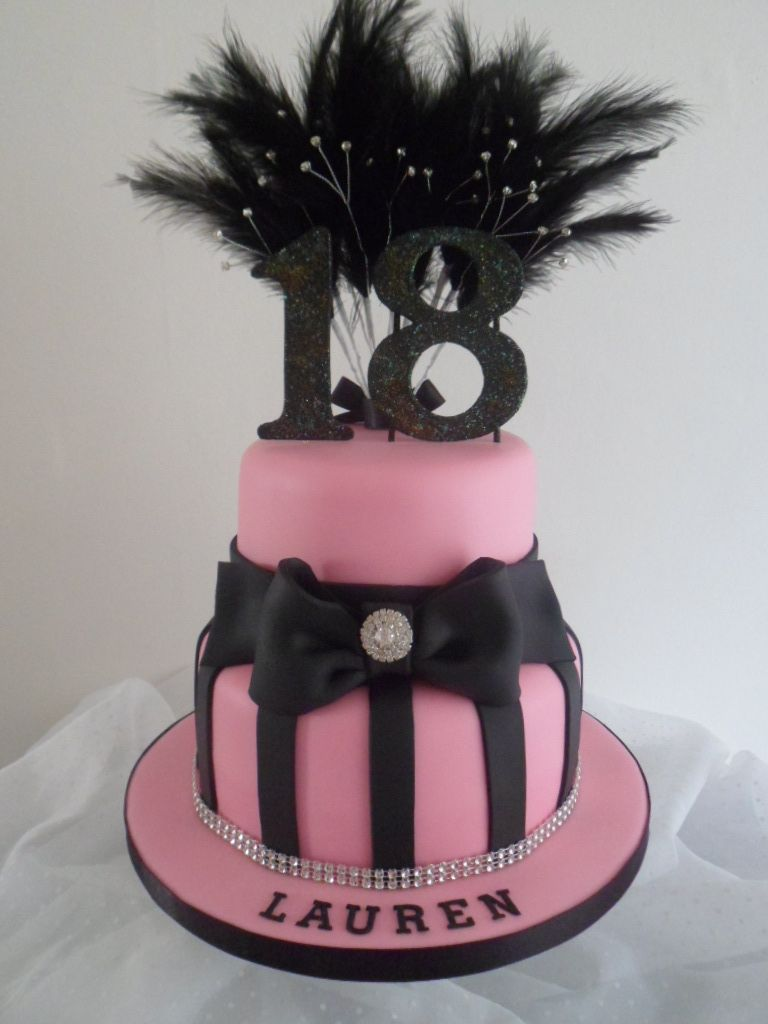 Two Tier Pink And Black 18th Birthday Cake By Carpels Creative