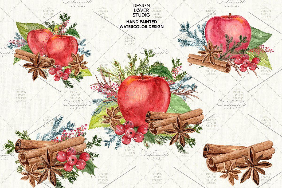 50%Watercolor Apple Cinnamon design   Apple painting ... (1200 x 800 Pixel)