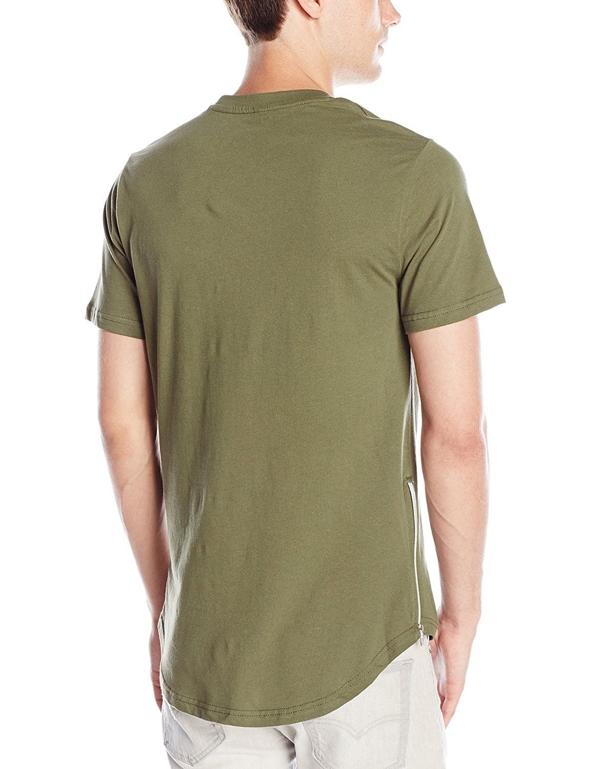 beb9e6a4a24b Men's Clothing, Shirts, T-Shirts, Men's Basic Short Sleeve Scallop Long  Length Tee With Side Zippers - Light Olive - C512G9R38UD #men #fashion  #clothing ...