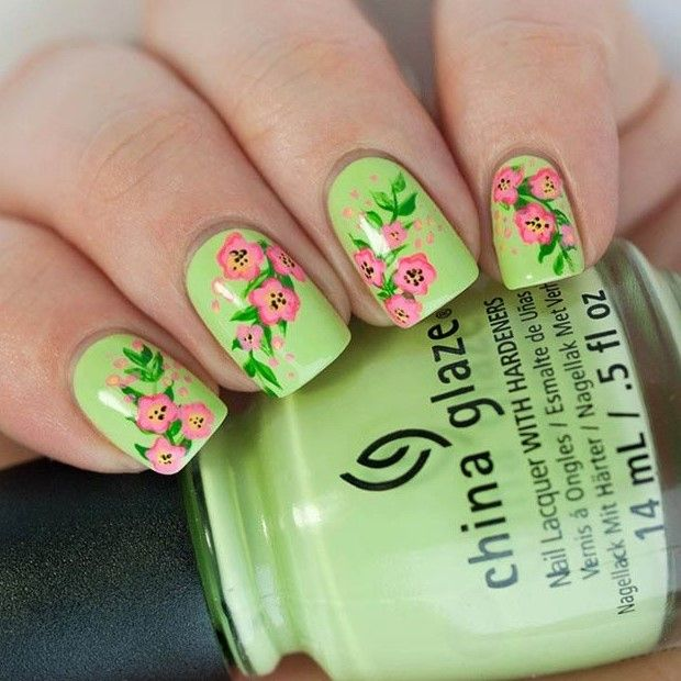 50 Flower Nail Designs for Spring | Pinterest | Uñas con flores y Flores