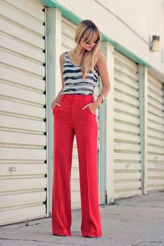 Calça pantalona colorida 2018