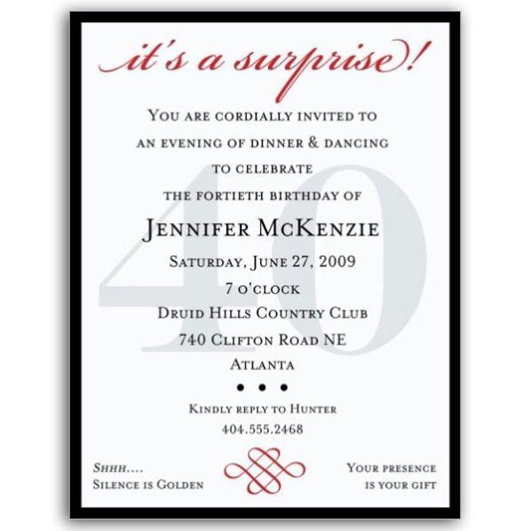 Petite Classic 40th Birthday Surprise Party Invitations