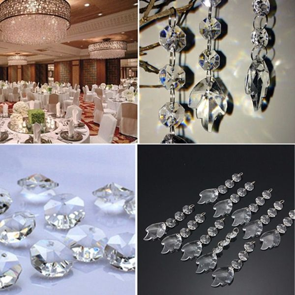 Acrylic Crystal Maple Leaf Shape Beads Garland Chandelier Hanging Wedding Party Decor