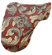 Rust Fleur Baroque Brocade Dressage Saddle Cover $27.95. Many other unique dressage saddle covers and saddle pads to choose from. Visit us at www.equestrianhomeaccessories.com.