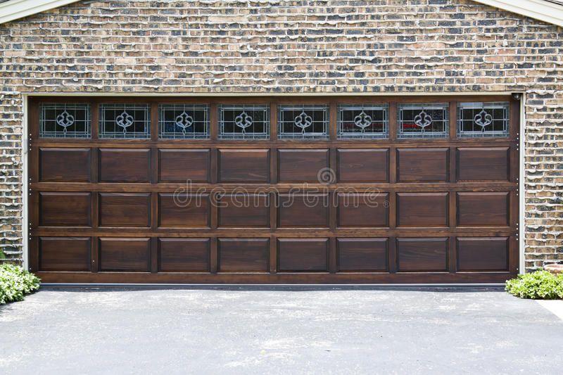 Garage Door Dark Wooden Garage Door With Brick Wall Background Sponsored Dark Door Garage Wooden B Wooden Garage Doors Wooden Garage Garage Doors