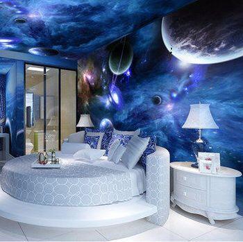 Galaxy themed room | Wall painting living room, Bedroom ...