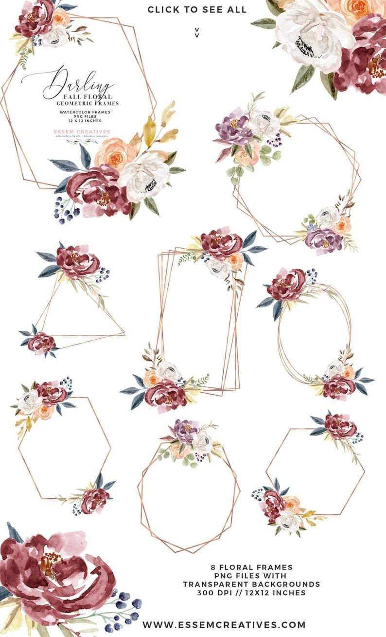 Fall Watercolor Flowers Clipart Boho Chic Floral Wreaths