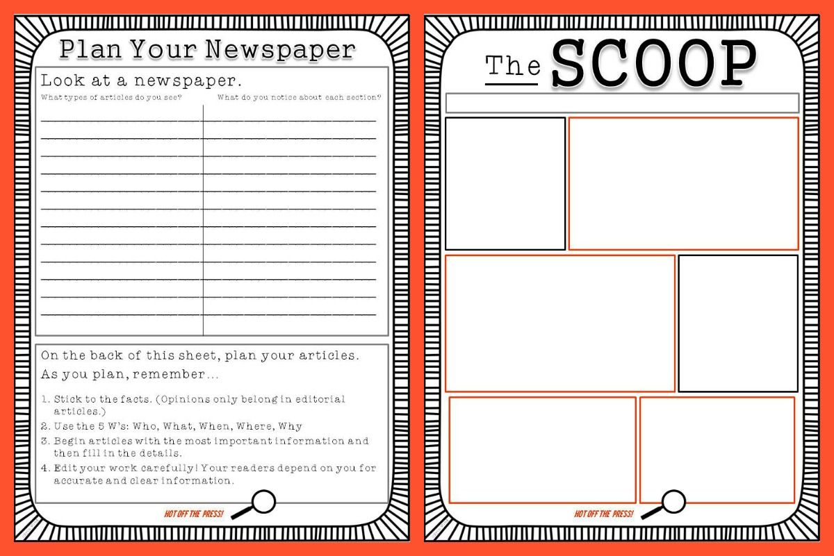 Small Types Create A Family Newspaper  Literacy Activities For
