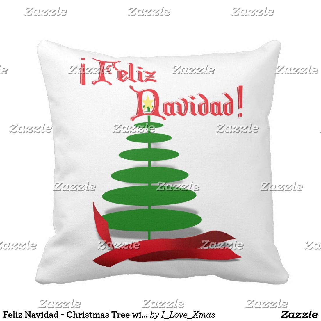 Feliz navidad christmas tree with red ribbon pillow ilovexmas