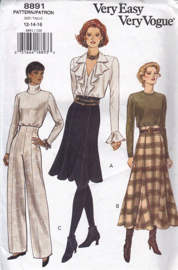 Vogue Sewing Pattern High Waist Wide Leg Pants Fashion Trousers ...