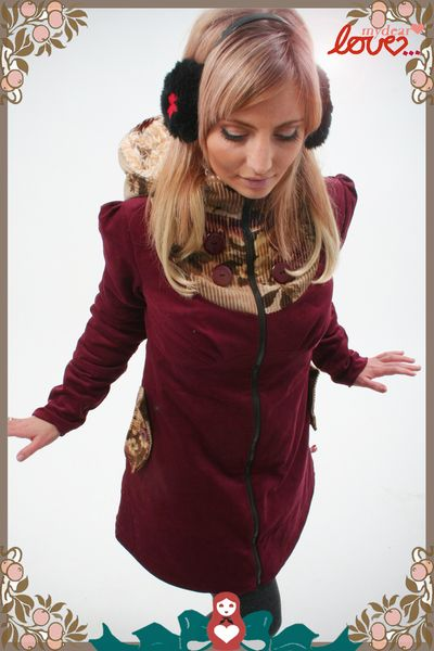 "Will haabbbeennnnn <3 <3 <3 Wintermantel ""Emilia"" Cord Weinrot, Blüten von mydearlove® - shop auf DaWanda.com"