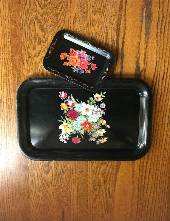 bathroom vanity tray decor.htm midcentury black floral trays  set of 2  serving trays  vanity  midcentury black floral trays  set of 2