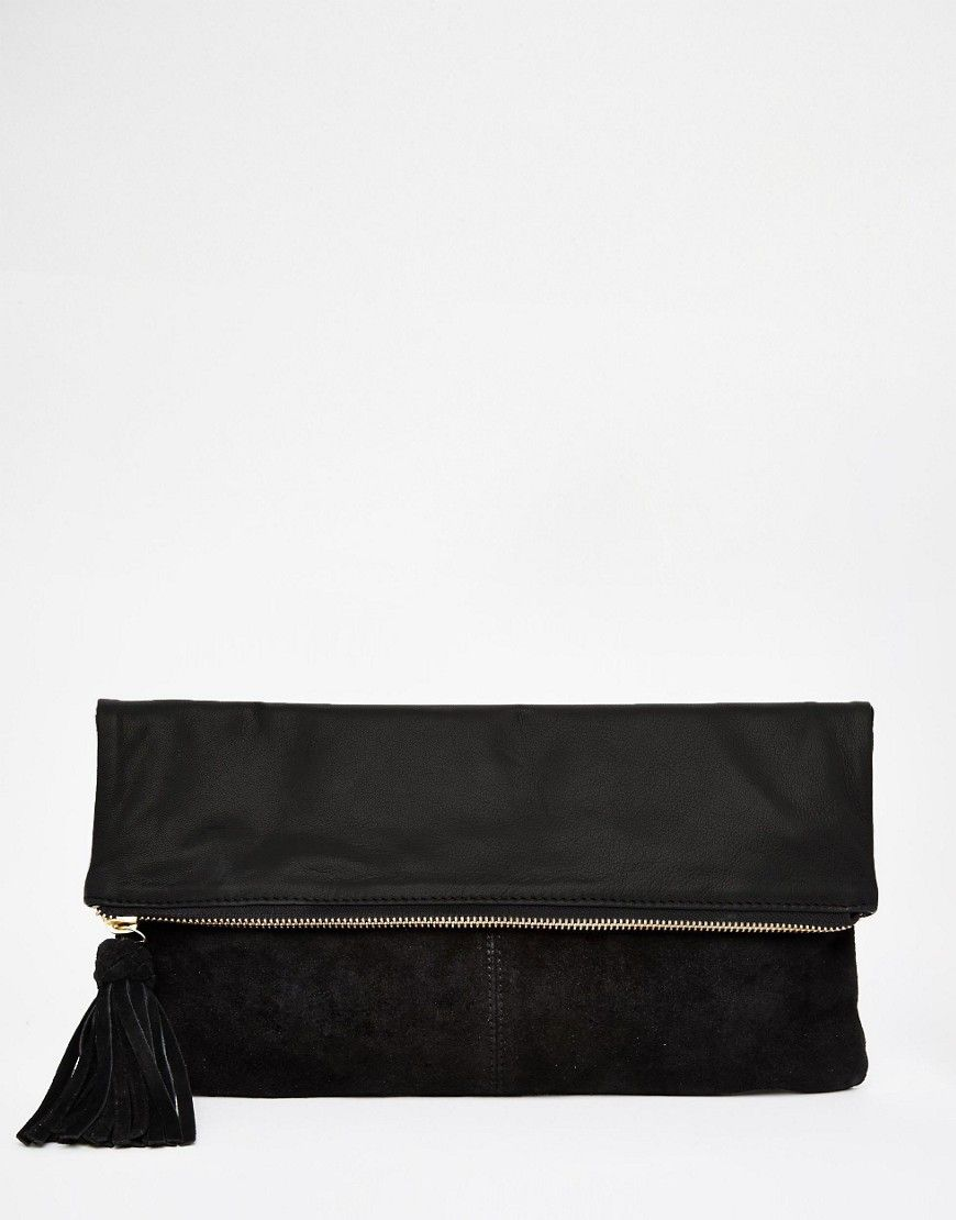 Leather and Suede Tab Front Clutch Bag - Black Asos 2JgDHOs8W