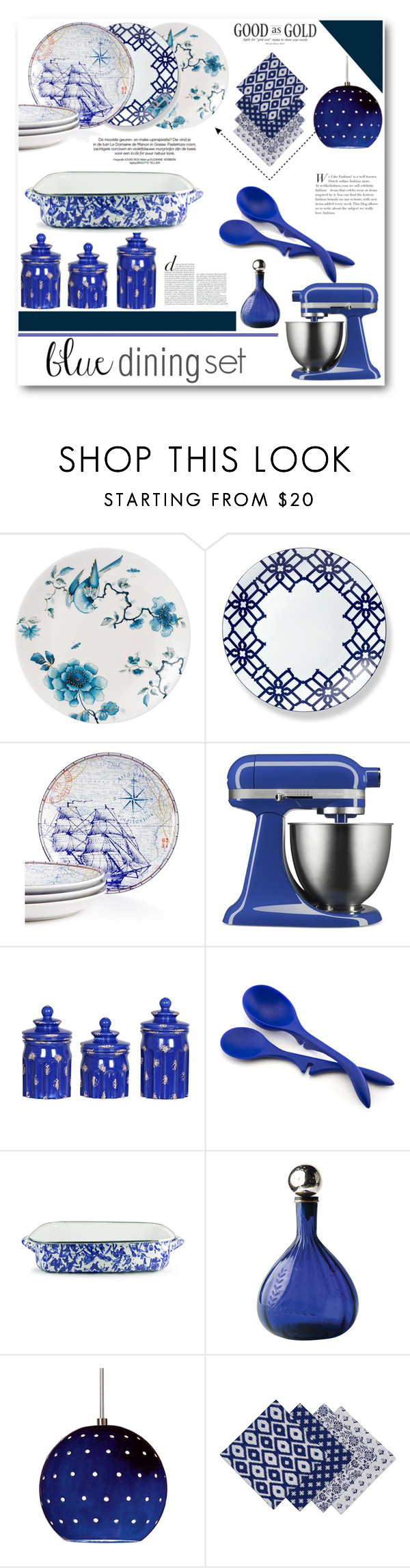 """""""Blue dining set"""" by patria ❤ liked on Polyvore featuring interior, interiors, interior design, home, home decor, interior decorating, Wedgwood, 222 Fifth, KitchenAid and Rachael Ray"""