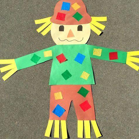 giant scarecrow craft project for preschool and kindergarten                                                                                                                                                                                 More #fallcraftsforkidspreschool