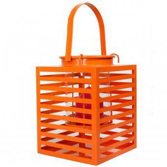 #laterne #lantern #orange #2013 #trend #candle #kerze #kerzenhalter Laterne aus Metall mit Lamellen und Glaseinsatz für Kerzen