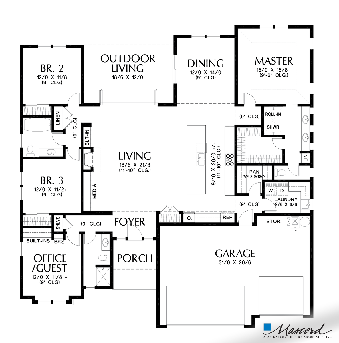 Mascord House Plan 1247b The Erwin Main Floor Plan Some Day In 2019 Modern House Floor Plans Contemporary House Plans Beach House Floor Plans