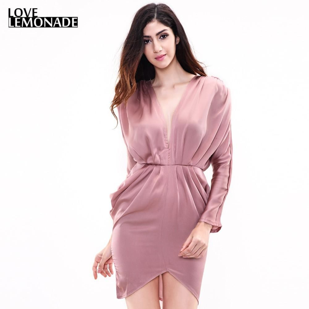 Pink V-Neck Halter Sexy Light Fabrics Party Dress