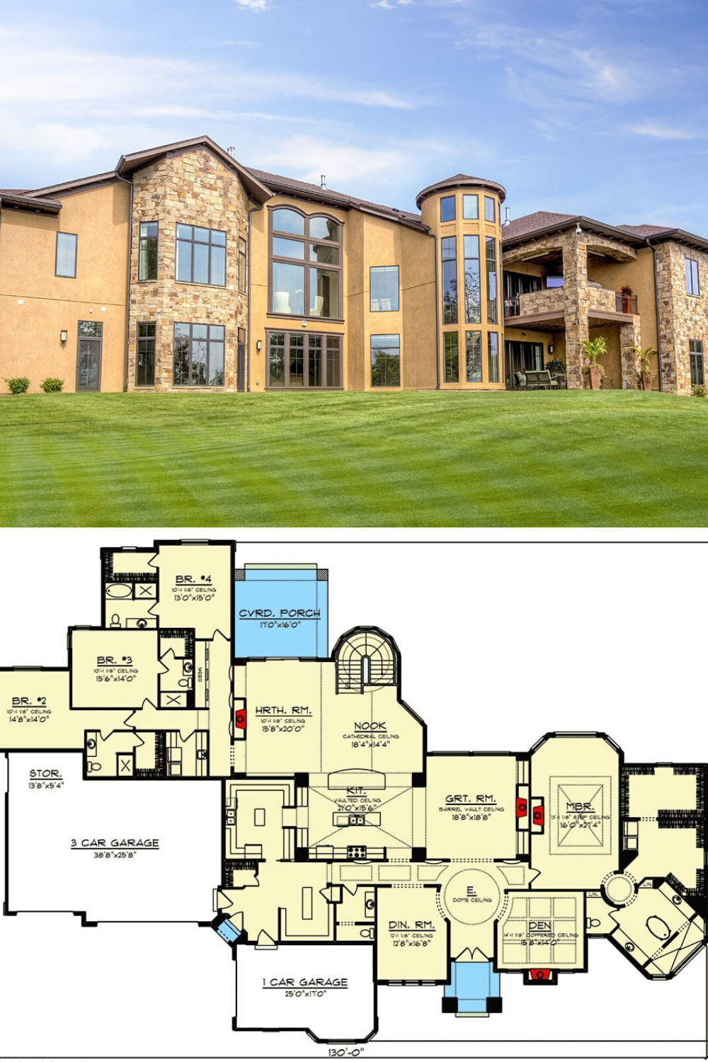 Single Story 5 Bedroom Tuscan Home With Finished Walkout Basement Floor Plan Basement House Plans One Level House Plans Tuscan House