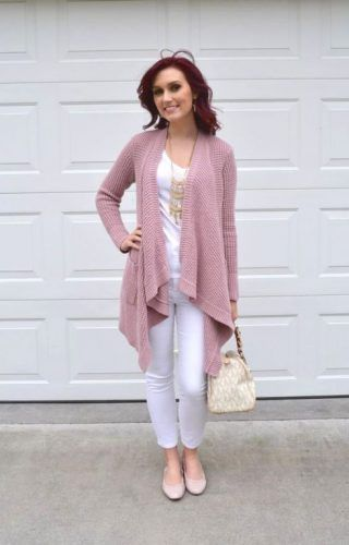 blush waterfall cardigan- How to rock the blush pink http://www ...