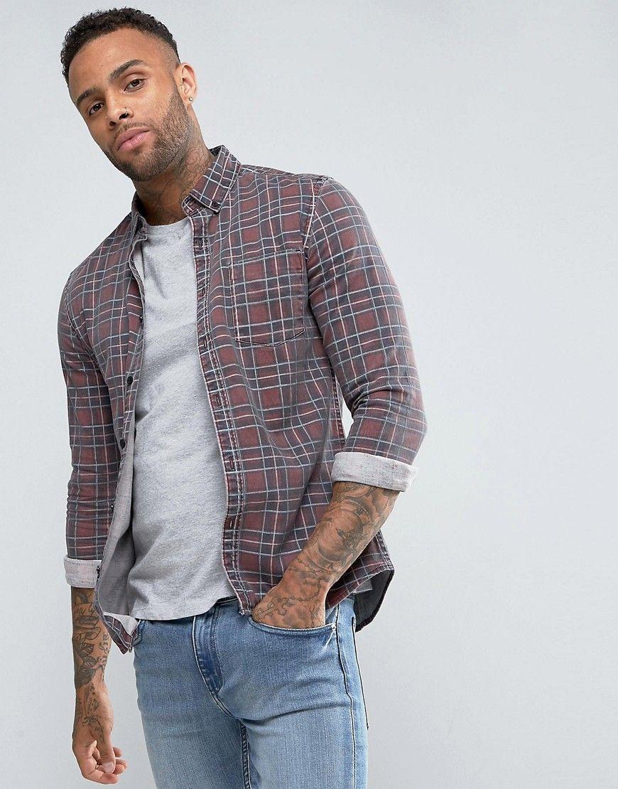 04a6f2c8f6 DESIGN skinny denim shirt with plaid check in 2019