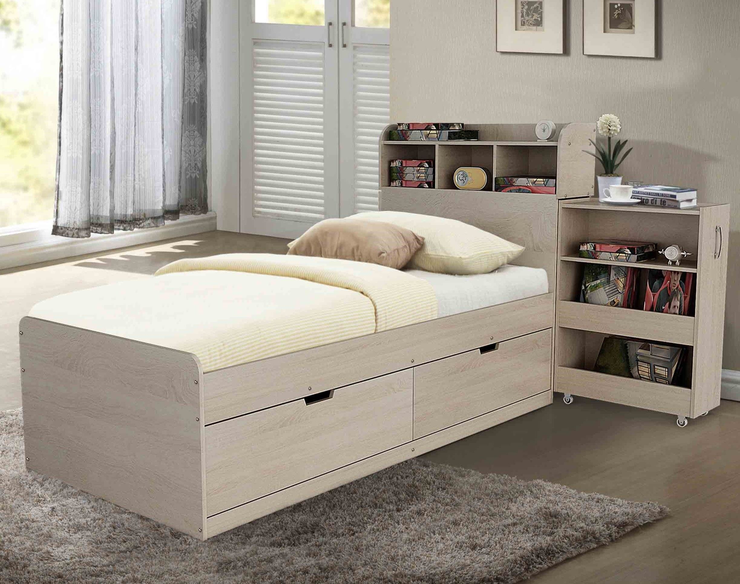 Airlie Single Bed In Light Oak With Cabinet And 2 Drawers Bed