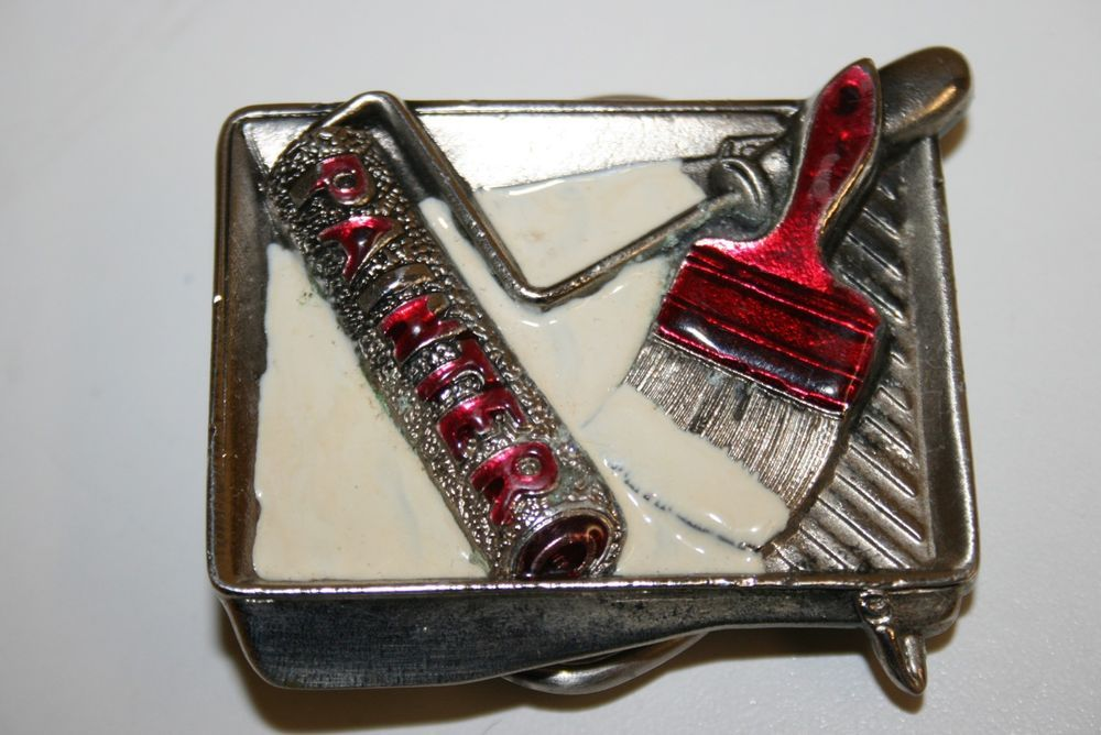 WOW Vintage 1981 Painter UNIQUE Colored Paint Brush in Paint Solid Belt Buckle