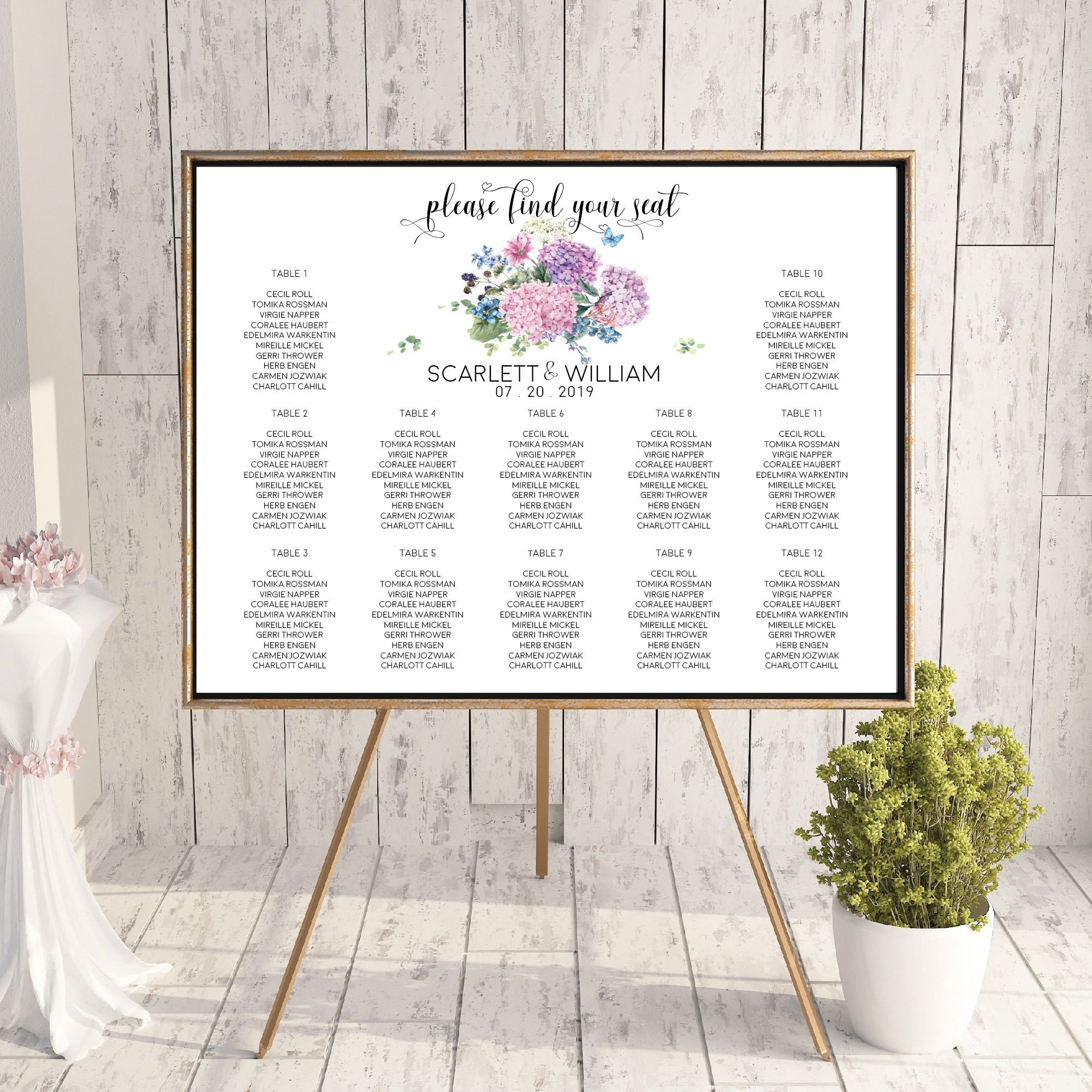 Hydrangea Boho Floral Wedding Seating Chart Sign,Watercolor Flowers Wedding Signage,Wedding Reception Find Your Seat Sign,Calligraphy Font