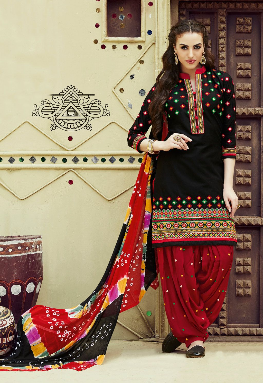 9449fdd95ae Black Cotton Patiala Suit 69633
