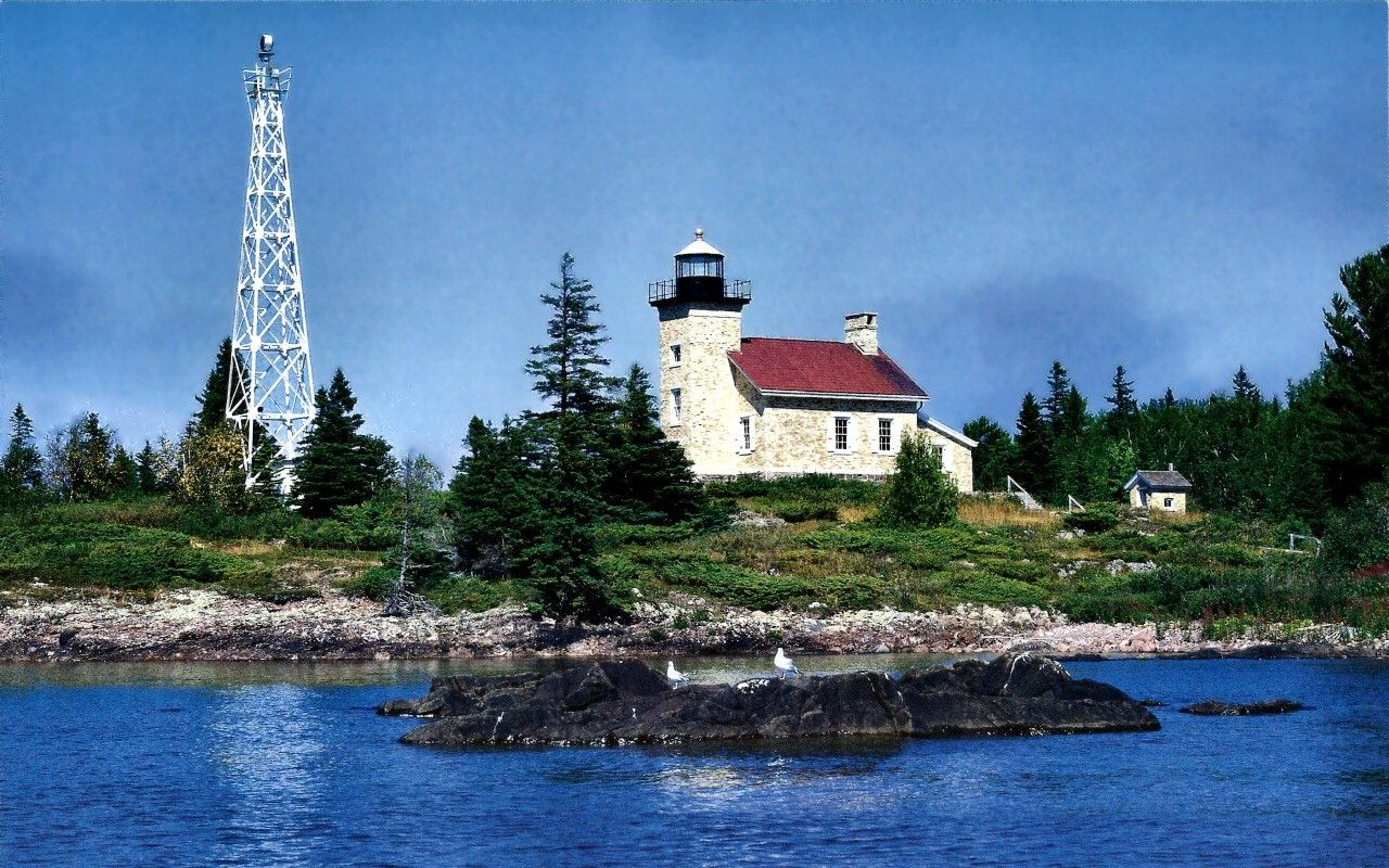 Copper Harbor Lighthouse Lsuper Lake Superior Waterscape Photography Water Scenery Wide Screen Background Images