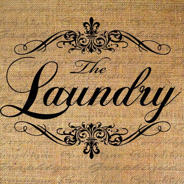 The LAUNDRY Ornate Frame Label Digital Collage Sheet Download Burlap Fabric Transfer Iron On Pillows Totes Tea Towels No. 3489