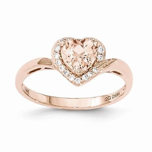 NEW 14K ROSE GOLD RING 70 CT HEART PINK MORGANITE 11 CT TW DIAMOND