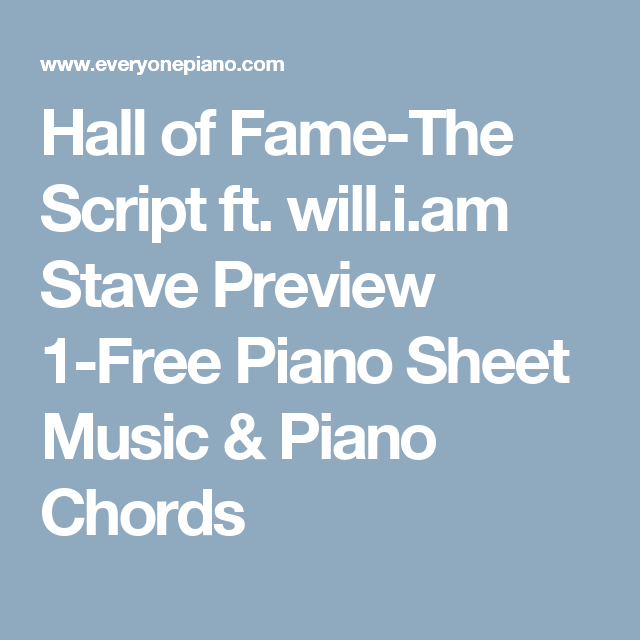 Hall Of Fame The Script Ft Willi Stave Preview 1 Free Piano