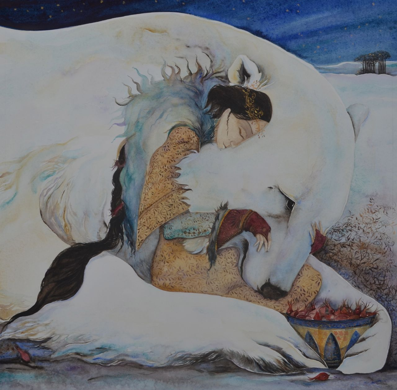 White bear and woman with rosehips in a bowl Art, Animal art