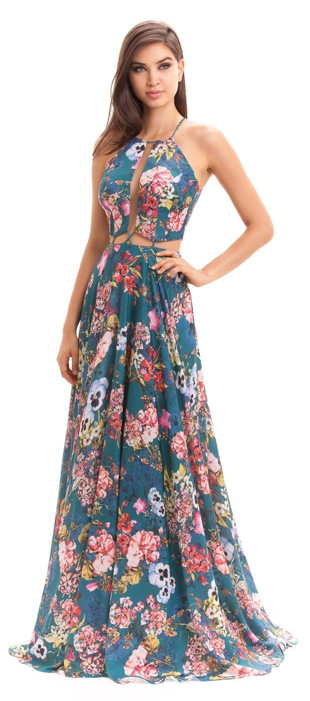 75d629bf5 Vestido longo de cetim estampado em tema floral