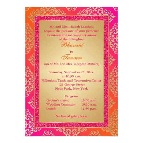 Pink Orange Gold Faux Glitter Wedding Invite Zazzle Com Glitter Wedding Invitations Glitter Wedding Indian Wedding Invitations
