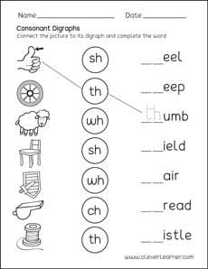 Consonant Digraphs activity worksheet for first graders #