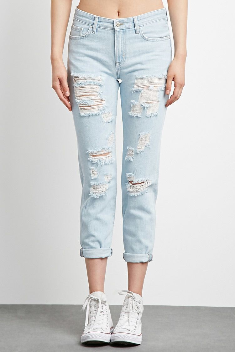 Distressed Boyfriend Jeans Boyfriend Jeans Cute Ripped Jeans Comfy Jeans Outfit