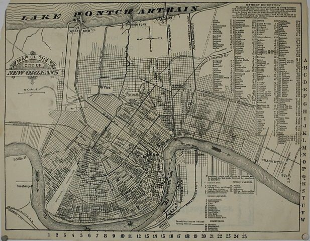 """16/"""" x 24/"""" 1875 Plan Of The City Of New Orleans /& Adjacent Plantations"""