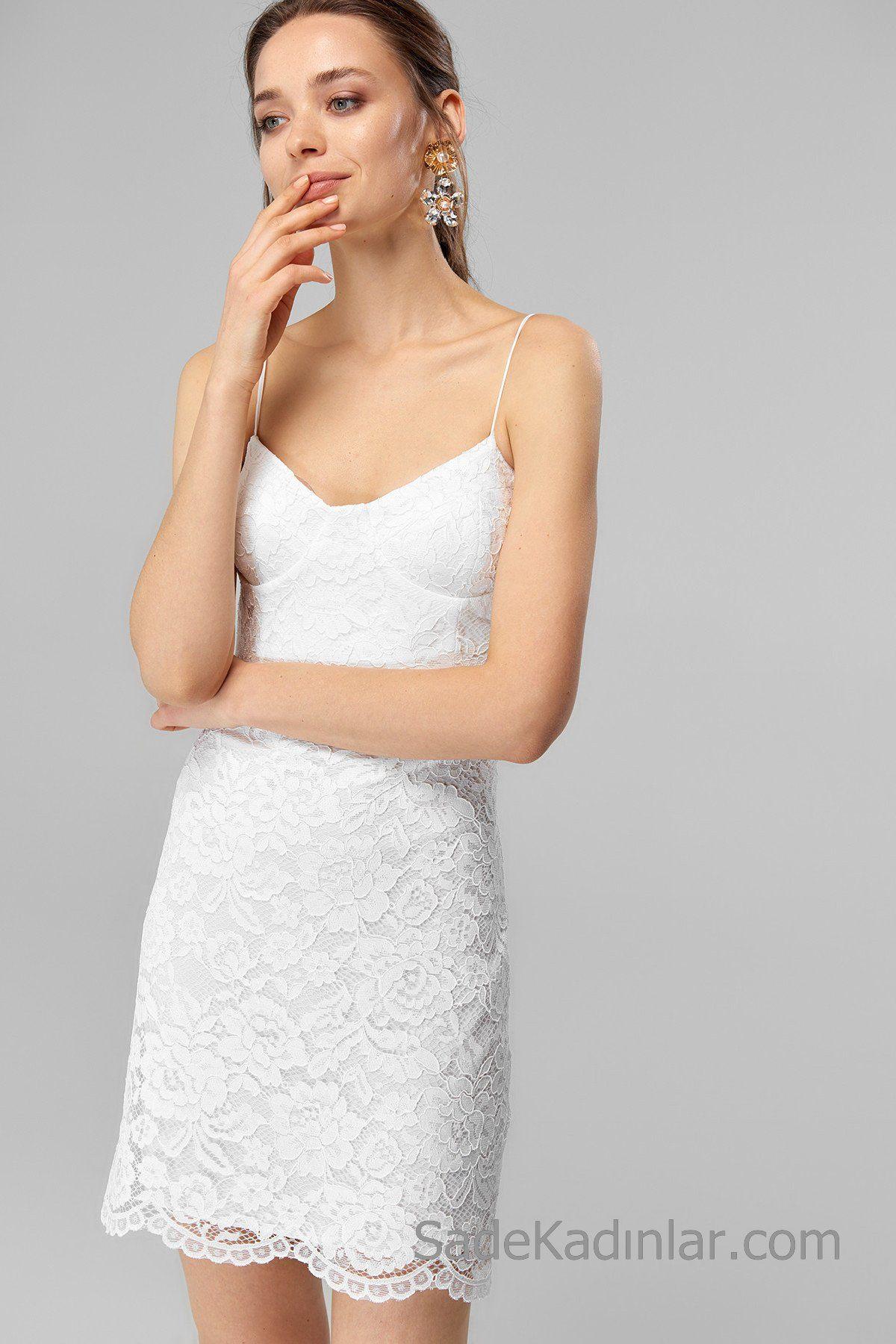2020 Dantel Elbise Modelleri Beyaz Kisa Ip Askili Dantel Elbise Elbise Modelleri Elbise