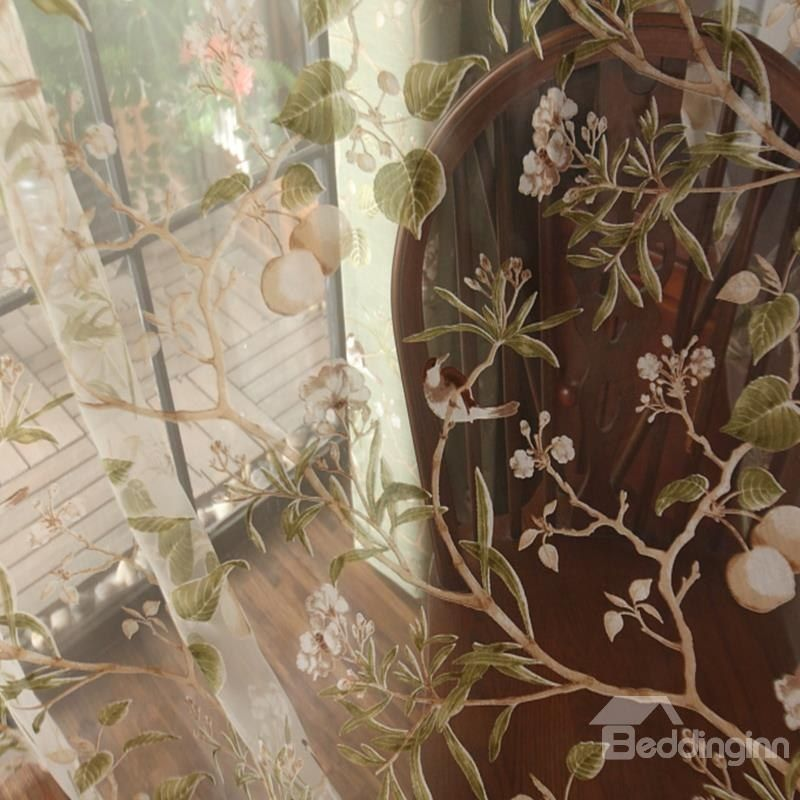 Decoration Polyester Embroidery Cute Swallows And Branches
