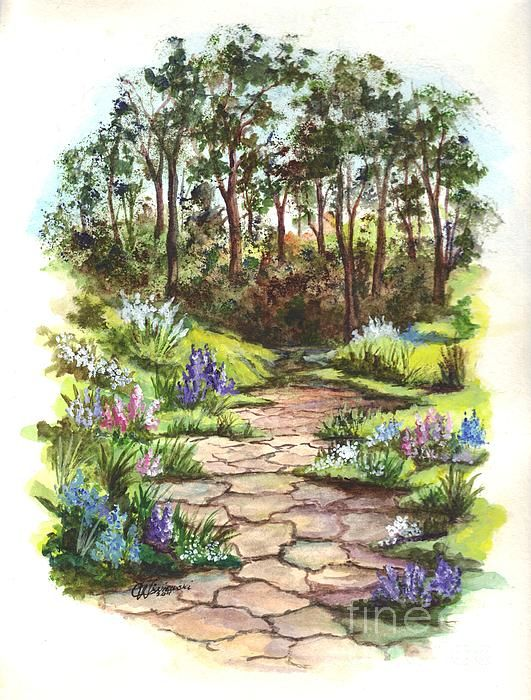 A Floral Pathway Vignette Painting