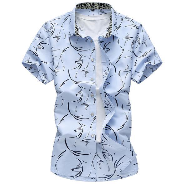Arrival Fashion Mens Shirt Slim Fit Short Sleeve Floral Flower Shirts