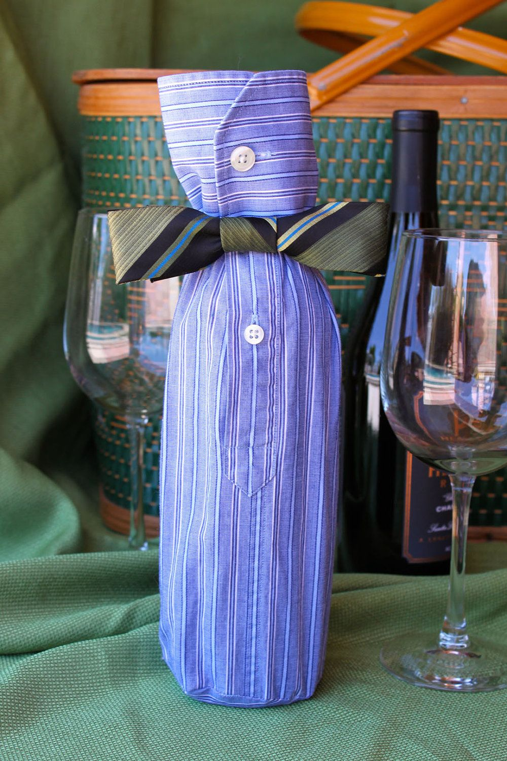 Wine Bottle Sleeve Blue White Stripes With By Travelinglilies  ~ Como Envolver Un Bolso Para Regalo
